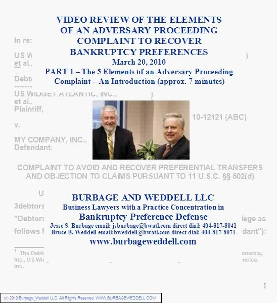 Cover page of part 1 of a video review of the elements of a bankruptcy preference complaint